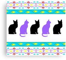 puple and black cats Canvas Print