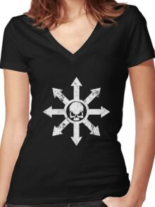 Mark of Chaos Distressed White Women's Fitted V-Neck T-Shirt