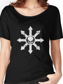 Mark of Chaos Distressed White Women's Relaxed Fit T-Shirt