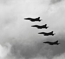 Silhouette of a Group of F-18 Jets by Buckwhite
