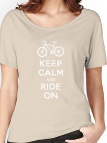 Keep Calm and Ride On mountain bike white fonts Women's Relaxed Fit T-Shirt