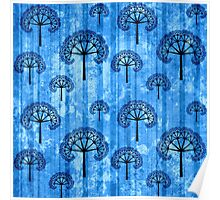 Ice Blue Abstract Pattern Poster