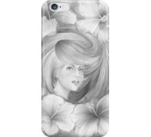 Girl with Hibiscus Flowers iPhone Case/Skin