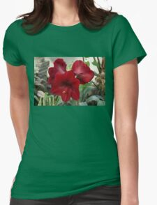 Christmas Red Amaryllis Flowers Womens Fitted T-Shirt