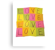 LOVE in Post-it Notes Canvas Print