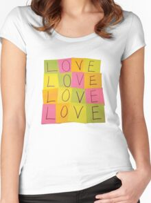 LOVE in Post-it Notes Women's Fitted Scoop T-Shirt