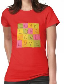 LOVE in Post-it Notes Womens Fitted T-Shirt