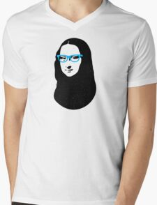 Mona Lisa Hipster Mens V-Neck T-Shirt