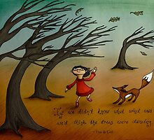 The Trees Are Dancing (Fox and Girl) by Maia Walczak