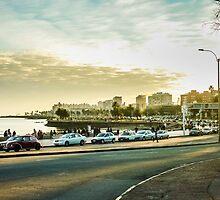 Montevideo Beach Urban View by DFLC Prints