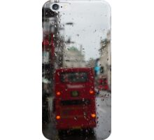 London - It's Raining Again But Riding the Double-Decker Buses is Fun! iPhone Case/Skin