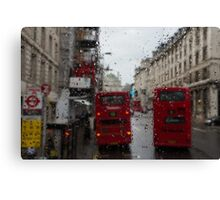London - It's Raining Again But Riding the Double-Decker Buses is Fun! Canvas Print