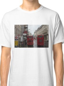 London - It's Raining Again But Riding the Double-Decker Buses is Fun! Classic T-Shirt