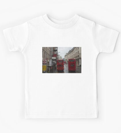 London - It's Raining Again But Riding the Double-Decker Buses is Fun! Kids Tee