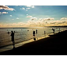 Sunset with People at the Beach Photographic Print