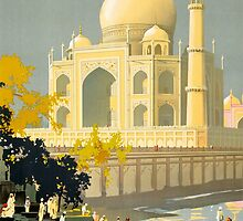 Taj Mahal Visit India Vintage Travel Poster Restored by Carsten Reisinger