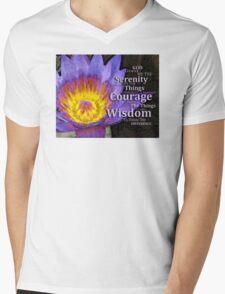 Serenity Prayer With Lotus Flower By Sharon Cummings Mens V-Neck T-Shirt