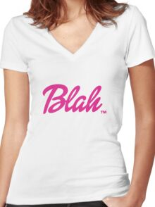 Blah Barbie Women's Fitted V-Neck T-Shirt