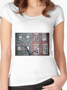 house facade Women's Fitted Scoop T-Shirt