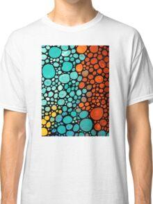 Abstract 3 - Colorful Mosaic Art Aqua Orange Yellow Classic T-Shirt