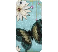 White Flowers with Butterfly and Jewels iPhone Case/Skin