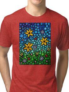 Spring Maidens - Flower Garden Mosaic Landscape Abstract Art Print Tri-blend T-Shirt