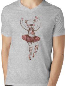 Ballerina Teddy Mens V-Neck T-Shirt