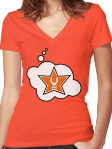 Customize My Minifig Brand Trade Mark Logo by Bubble-Tees.com Women's Fitted V-Neck T-Shirt