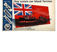 WAR POSTER, Red Duster, Red Ensign, Royal Merchant Navy, WWII poster by TOM HILL - Designer
