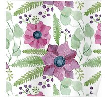 Pink and purple watercolor anemone flowers pattern Poster