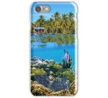 Over and underwater sea coral reef fish with tropical shore iPhone Case/Skin