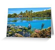 Over and underwater sea coral reef fish with tropical shore Greeting Card