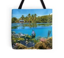 Over and underwater sea coral reef fish with tropical shore Tote Bag