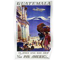 Guatemala Vintage Travel Poster Restored Poster