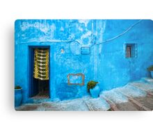 Blue Wall with Green Curtain Metal Print