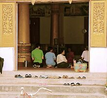 Prayer Time - Vientiane, Laos. by Tiffany Lenoir