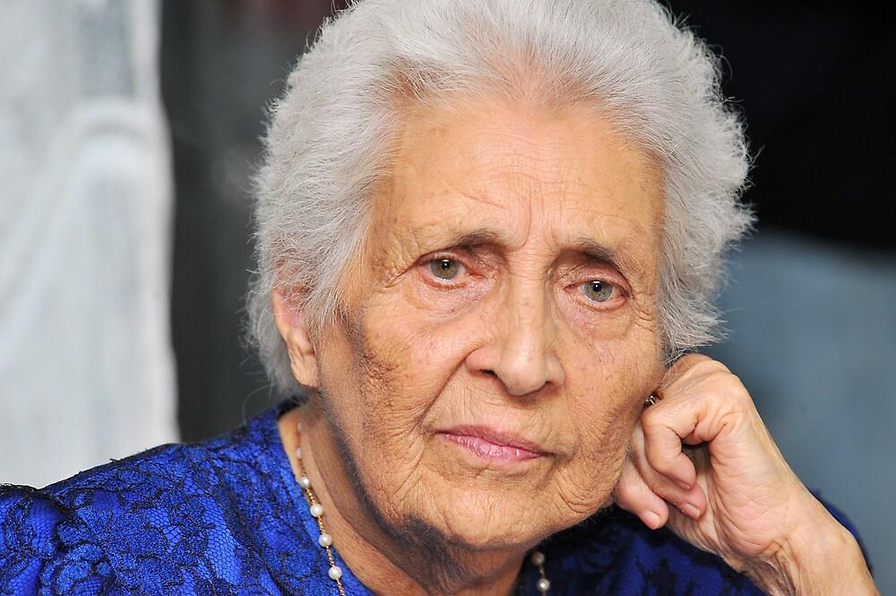 My 92 year old mother deep in thought. Brisbane, Queensland, Australia. by Ralph de Zilva
