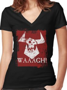 Ork Red Waaargh! Women's Fitted V-Neck T-Shirt