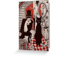 Murder At The Black Cat Bar Greeting Card