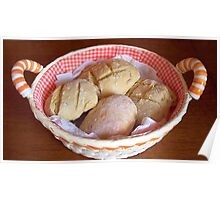 Appetizing home bread rolls. Poster