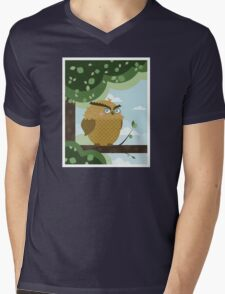Owl in a branch Mens V-Neck T-Shirt