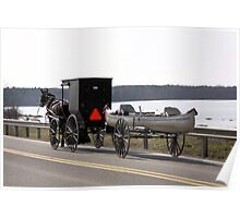 Amish buddy hauling a canoe Poster