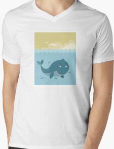 Whale at sea Mens V-Neck T-Shirt