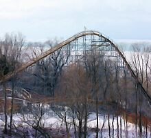 Roller coaster over lake Erie in the winter digital painting by capturingsmiles