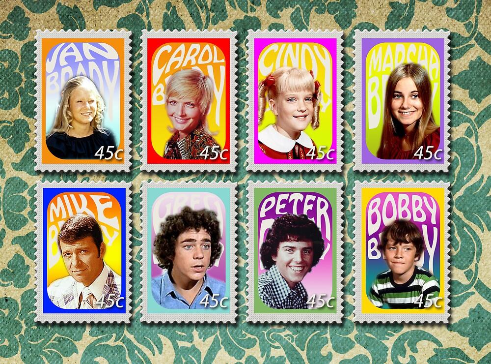 The Brady Bunch stamp set by Erin Dean