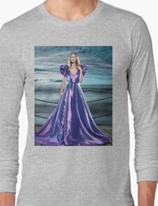 Woman wearing beautiful long blue dress at waterfront art photo print Long Sleeve T-Shirt