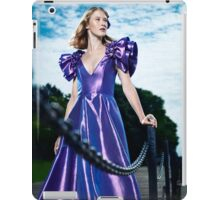 Artistic fashion portrait of woman in beautiful long blue dress at a pier art photo print iPad Case/Skin