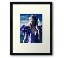Beautiful blond woman in blue dress beauty portrait art photo print Framed Print