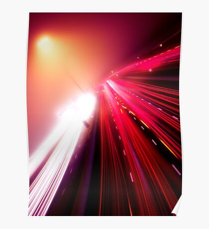 Highway traffic colorful light trails on a foggy night art photo print Poster