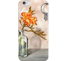 marigold in antique jar with old keys, 1 of 2 iPhone Case/Skin